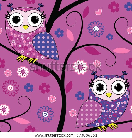 Vector seamless pattern with owls on a tree. Pink, violet  and blue. - stock vector