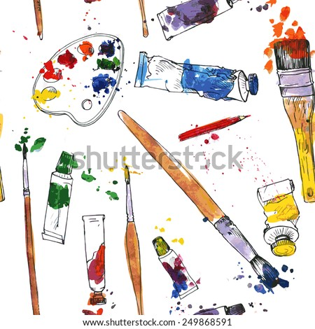 vector seamless pattern with palette,  tubes of paint, brushes and paint stains, hand drawn vector illustration - stock vector