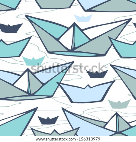 Vector seamless pattern with paper ships