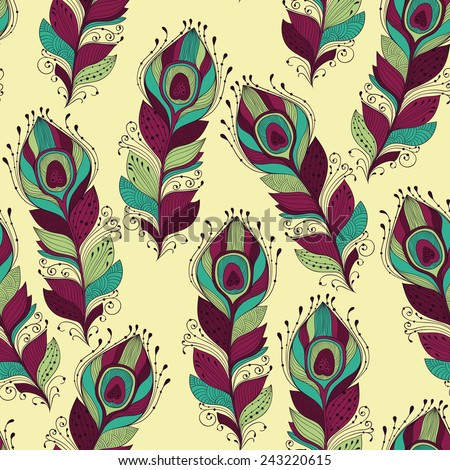 Vector seamless Pattern with peacock feathers, fully editable eps 10 file with clipping mask and seamless pattern in swatch menu - stock vector