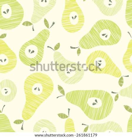 Vector seamless pattern with pears - stock vector