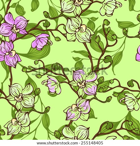 Vector seamless pattern with pink and green orchid flowers - stock vector