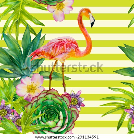 Vector seamless pattern with pink flamingo and exotic tropical plants on a striped background. Watercolor hand-drawn illustration. Palm tree, succulent, roses, passionflower - stock vector