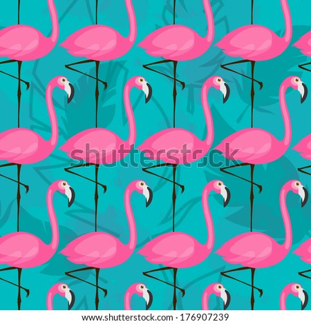 vector seamless pattern with pink flamingos on turquoise background - stock vector