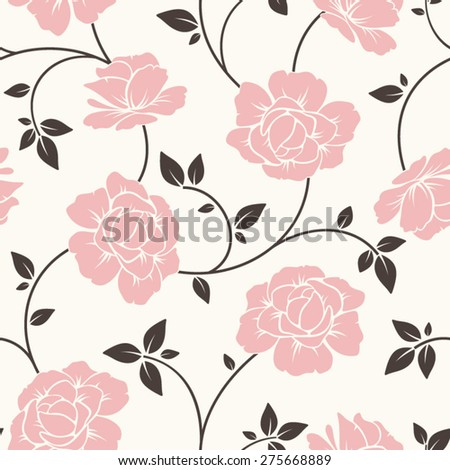 Vector seamless pattern with pink flowers and brown leaves. - stock vector
