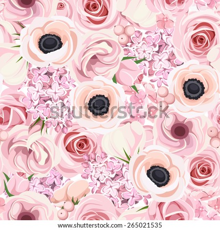 Vector seamless pattern with pink roses, lisianthus, anemones, lilac and hydrangea flowers. - stock vector
