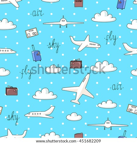 Vector seamless pattern with planes and things connected with flights on blue background with polka dot - stock vector