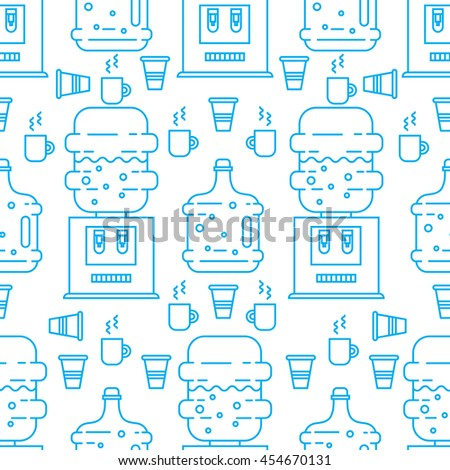 Vector seamless pattern with plastic cups and water coolers. Perfect for water delivery packaging design. Vector background. - stock vector
