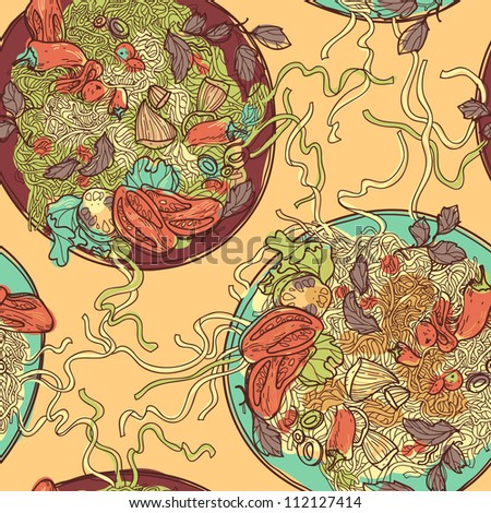 vector  seamless pattern with plates of Italian pasta