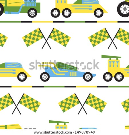 Vector seamless pattern with powerful sports cars - stock vector