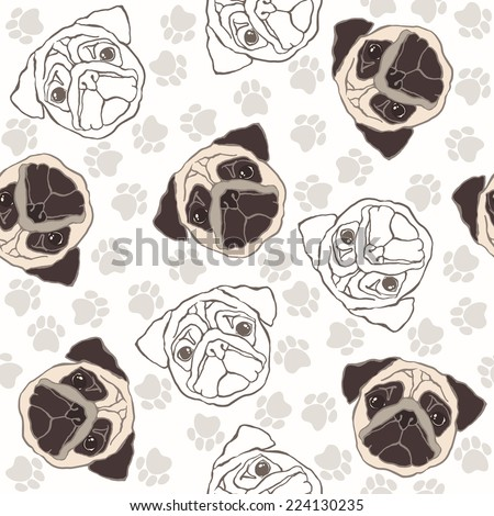 Vector seamless pattern with pug-dog and traces.  - stock vector