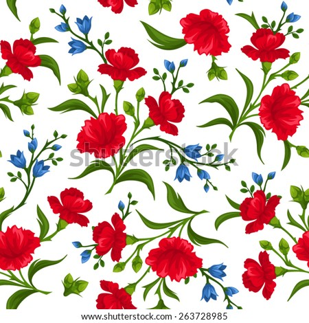 Vector seamless pattern with red and blue flowers and green leaves on a white background. - stock vector