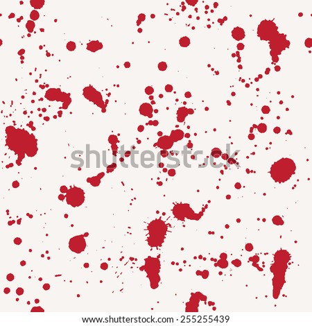 Vector seamless pattern with red blood splashes and spots - stock vector