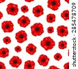 Vector seamless pattern with red poppies on a white background. - stock photo