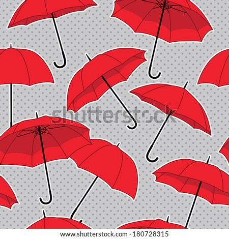 vector seamless pattern with red umbrellas