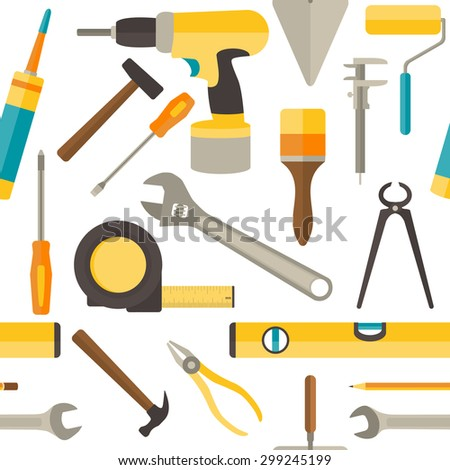 Vector seamless pattern with repairs tools isolated on white background. - stock vector