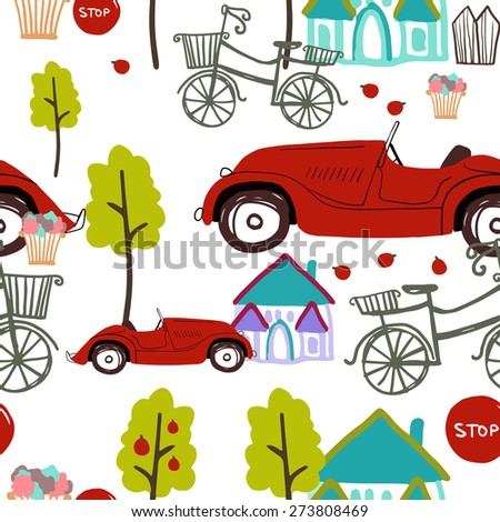 Vector seamless pattern with retro car and bicycle - stock vector