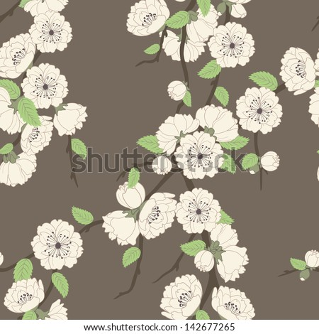 Vector seamless pattern with sakura branch, beige on brown - stock vector