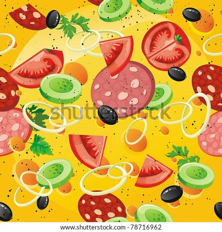 Vector seamless pattern with sausage, cucumber, onion and tomato. Abstract Food Vegetables cheese background - stock vector