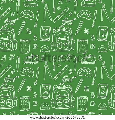 Vector seamless pattern with school elements: backpack, ruler, book, sheet of paper, glasses, sneaker, pen, pencil, numbers, letters, compasses, protractor, brush,paints. Set of hand drawing objects. - stock vector
