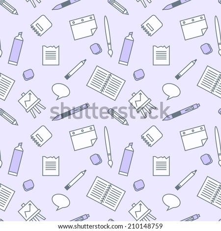 Vector seamless pattern with school elements: book, sheet of paper, pen, pencil,  brush, marker, eraser, bulb, notebook and writing board. Background to school doodles.  - stock vector