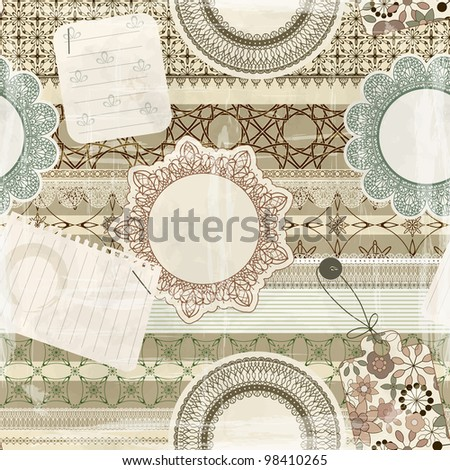 vector  seamless pattern with scrapbook elements: lacy napkins, sheets of paper, ribbons, tags, old paper texture - stock vector