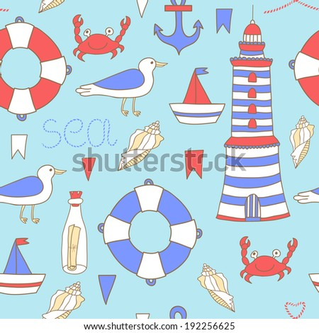 Vector seamless pattern with sea elements: lighthouse, boat, anchor, lifebuoy, shell, flags, seagull, crab, bottle with letter on the blue background with splashes. Vintage hand drawing backdrop.  - stock vector
