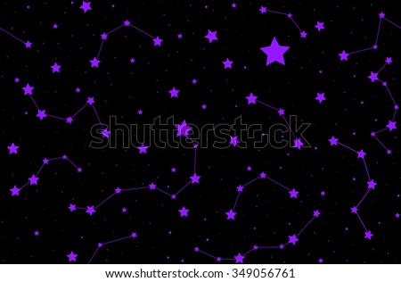 Vector seamless pattern with shining stars and constellations. You can use any color of background - stock vector