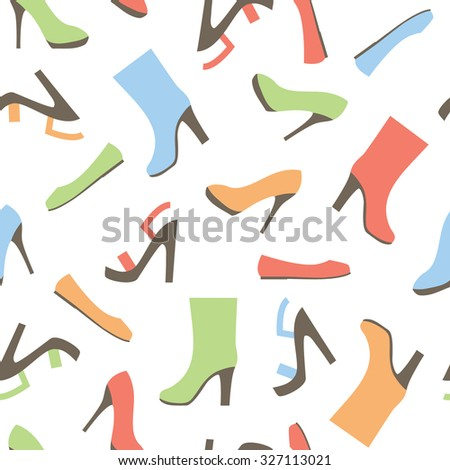 vector seamless pattern with shoes, sandals  and boots - stock vector
