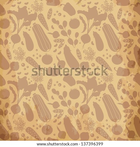 Vector seamless pattern with  silhouettes of decorative vegetables on aged background - stock vector