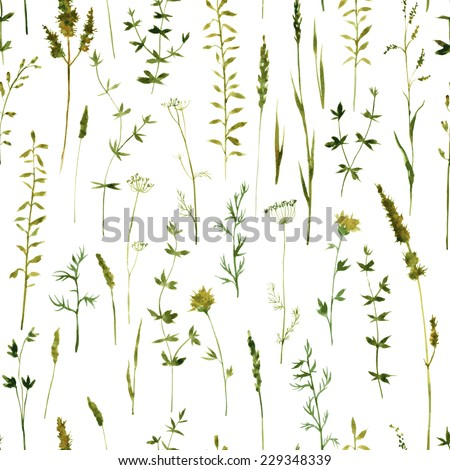 Vector seamless pattern with silhouettes of flowers and grass, drawing by watercolor, hand drawn vector illustration - stock vector
