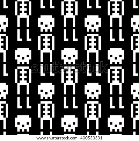 Vector seamless pattern with skeletons - stock vector
