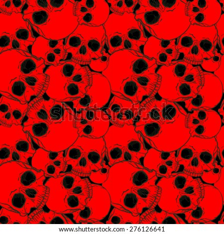 Vector seamless pattern with skulls - stock vector
