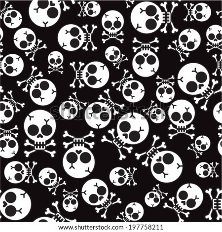 vector seamless pattern with skulls and bones black background - stock vector