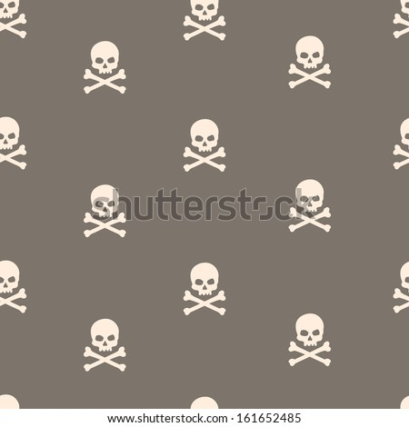 vector seamless pattern with skulls and bones brown background - stock vector