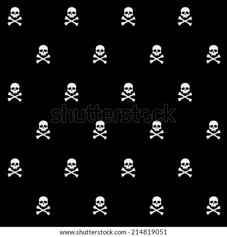 vector seamless pattern with skulls and bones for halloween - stock vector