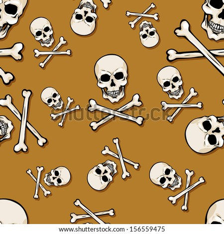vector seamless pattern with skulls and bones on brown background - stock vector