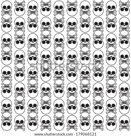 vector seamless pattern with skulls and bones white background  - stock vector