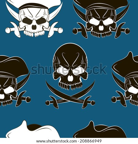 Vector Seamless pattern with skulls and pirate sword blue background - stock vector