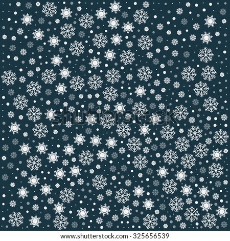 Vector seamless pattern with snowflakes. Dark cyan background. Vector illustration Festive Christmas and New Year seamless snowflakes pattern. Winter pattern. Snowfall - stock vector