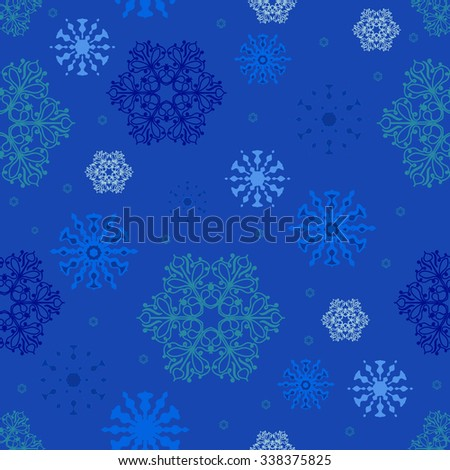 Vector seamless pattern with snowflakes for Christmas and New Year decorations