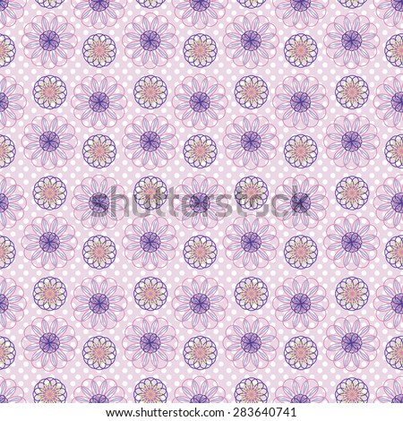 Vector seamless pattern with spirograph elements on polka dots background - stock vector