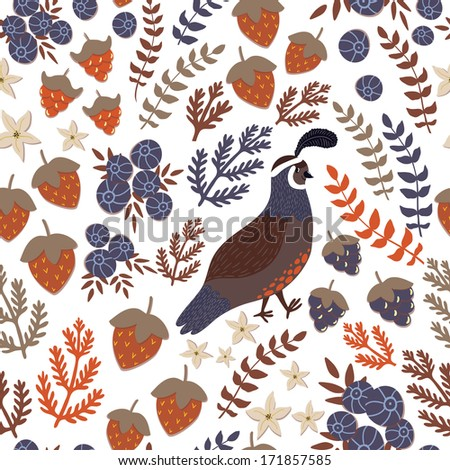 Vector seamless pattern with strawberries, blueberries, blackberries, different floral elements on the white background - stock vector
