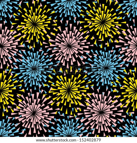 Vector seamless pattern with stylized flowers or lights of fireworks. Background with abstract exploding shape of triangle. Simple decorative texture. Ornamental illustration for print, web - stock vector