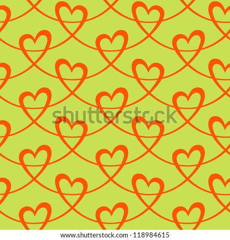 Vector seamless pattern with stylized hearts of red ribbons. Christmas holiday decorative graphic background of greeting, invitation. Simple drawing ornamental festive illustration for print, web - stock vector