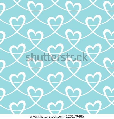 Vector seamless pattern with stylized hearts of white ribbons. Romantic light blue decorative background Valentines Day's, wedding. Simple abstract ornamental illustration for textile, print, web - stock vector