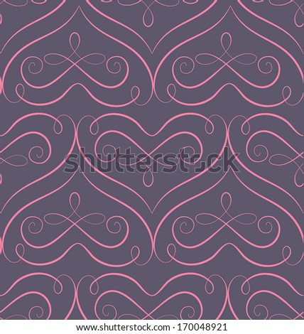 Vector seamless pattern with stylized hearts. Romantic decorative graphic background Valentines Day's and wedding - stock vector
