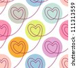 Vector seamless pattern with stylized linear hearts of stitching. Colorful polka dot background Valentines Day's and wedding. Romantic ornamental abstract illustration for fabric, paper, web and print - stock photo