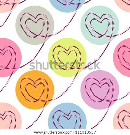 Vector seamless pattern with stylized linear hearts of stitching. Colorful polka dot background Valentines Day's and wedding. Romantic ornamental abstract illustration for fabric, paper, web and print - stock vector