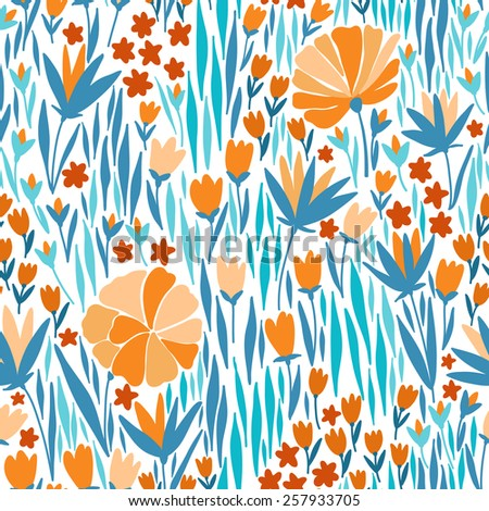 Vector seamless pattern with summer flower. It can be used for desktop wallpaper or frame for a wall hanging or poster,for pattern fills, surface textures, web page backgrounds, textile and more. - stock vector